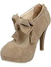 Mujeres Zapatos de tacón HooH Gamuza Bowknot Plataforma Tacón alto Cremallera Stiletto Boda Zapatos de tacón