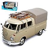 VW Volkswagen T1 Grau Pick-Up und Plane mit Dachträger Samba Bully Bus 1950-1967 1/24 Motormax Modell Auto