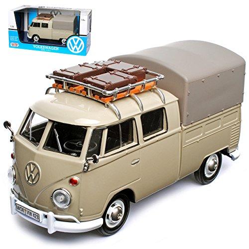 alles-meine GmbH VW Volkswagen T1 Grau Pick-up und Plane mit Dachträger Samba Bully Bus 1950-1967 1/24 Motormax Modell Auto