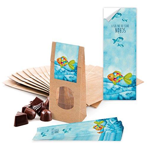 25 kleine braune Papier-Tüten MIT FENSTER und Pergamin-Einlage 7 x 4 x 20,5 cm + 25 blau türkise Regenbogen-Fisch SCHÖN DASS DU DA BIST Aufkleber 5 x 15 cm Verpackung give-away (Fische Schöne)