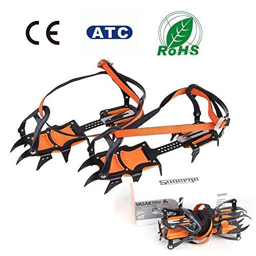 RISILAYS 1 Paar 12 Zähne Stahl Anti Rutsch EIS Traktion Verstellbar Slip On Stretch Fit Schnee EIS...