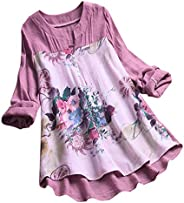 Women Long Sleeve Blouse T-Shirt ❀ Ladies Vintage V-Neck Floral Printing Patch Long Tops Plus Size Casual Fash