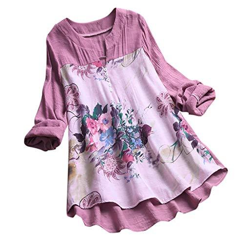 MRULIC Damen Langarm Shirt Beiläufige Lose Baumwolle Frühling Herbst Tops Solide Elegante T-Shirt Freizeithemd(A2-Violett,EU-48/CN-4XL) (Frühlings-frauen-tops)