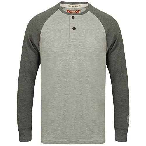 Herren Tokyo Laundry Jersey Oberteil Henley T-Shirt Opa Hals langärmlig Raglan hellgrau - 1u9614