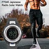 EdBerk74 Nuevo 2019 Reloj Impermeable Reloj Solar Radio Reloj Solar Reloj de los Hombres al Aire Libre Reloj Deportivo para Nadar Reloj Negro