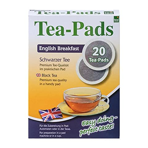10 Packungen mit je 20 Tea Pads Schwarztee English Breakfast für Pad und Siebträgermaschinen von Tea