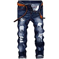 1d0e64dd0b6 Men s Ripped Distressed Destroyed Slim Fit Jeans Pants Denim Trousers