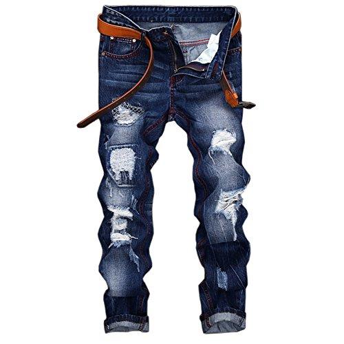 Herren Jeanshose Slim Jeans Zerrissen Verwaschen Löcher Denim Hose Blau 36