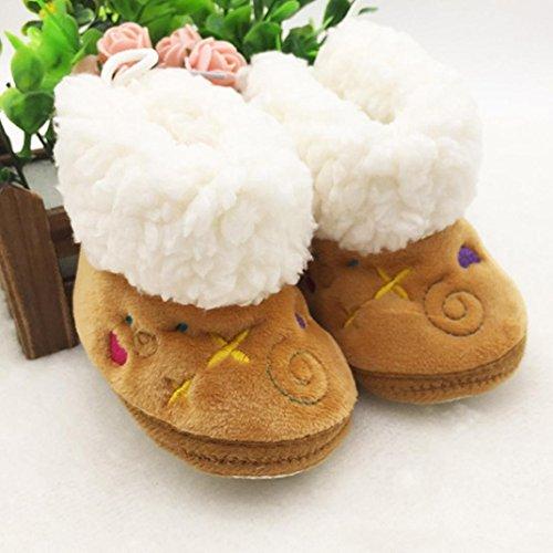 OverDose Baby Kleinkind Säuglings Schnee Stiefel aus weicher Baumwolle Sole Prewalker Krippe Schuhe (0-12 Monate) Braun