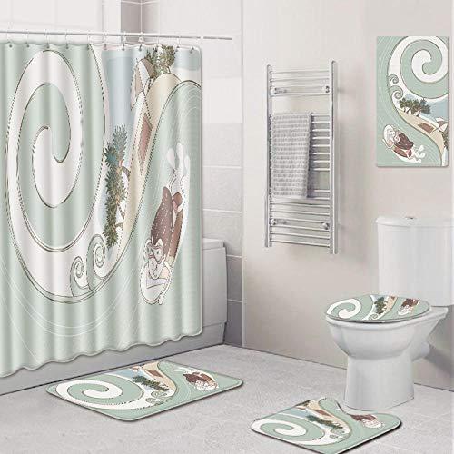 WOSBE Duschvorhänge Badematten Set,5-Teiliges Simple cartoonBadezimmer Anti-Rutsch-WC-Vorleger Deckel WC-Abdeckung Badematte Duschvorhang mit 12 Haken 45 * 75cm @A -