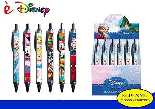 Disney - Penne Con Clip, 24 Pezzi - Con Espositore - Soggetti: Mickey Mouse, Avengers, Spiderman, Frozen, Principesse, Minnie