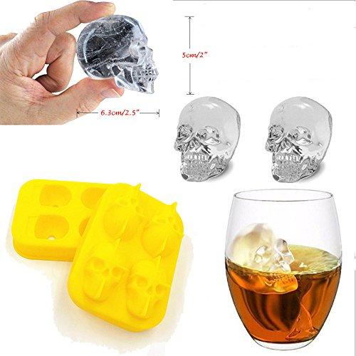 3D Eiswürfelform HKFV Schädel-Form 3D Eis-Würfel-Form-Hersteller-Stab-Partei-Silikon-Behälter Schokoladen-Form-Geschenk 3D Schädel Eis machen Schimmel Gelb (Yellow)
