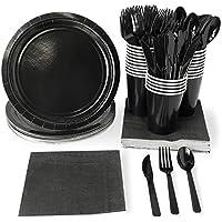 Juvale Disposable Dinnerware Set - Serves 24 - Black Party Supplies - Includes Plastic Knives, Spoons, Forks, Paper Plates, Napkins, Cups, Black