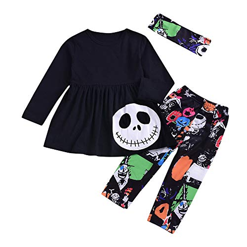 SEWORLD Baby Halloween Kleidung,Niedlich Kleinkind Kleinkind Infant Baby Mädchen Jungen Brief Strampler Hosen Halloween Kostüm Outfits Set Kleid + Hosen + Haarband(Schwarz,3 (Kostüm Party Makeup Tutorial)