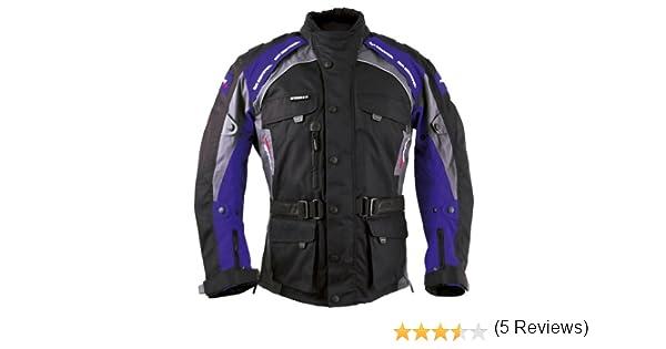 Noir//Bleu XXL Roleff Racewear 7836 Blouson Moto Liverpool