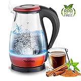 TurboTronic Glas Wasserkocher 1,7 Liter mit Kalkfilter, LED Beleuchtung Blau, BPA Frei, Leistung: 2200 Watt, Farbe Rot