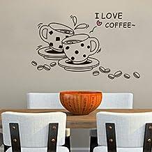 BestOfferBuy Calcomanía de Tazas de Café para Amantes del Café para Pegar en la Pared