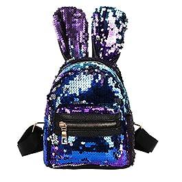 Ode_Joy 3Pcs per bambina con paillettes per conigli orecchie borsa a tracolla per studenti + pochette + pochette,Women's portable cosmetic bag, mobile phone bag, coin purse, clothing accessories