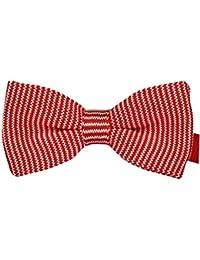 Noeud Papillon Tricoté Rouge bande blanche pour mariage, travail ou tout autre événement