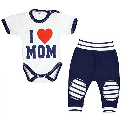 TupTam Unisex Baby Bekleidung mit Spruch 2er Set , Farbe: I Love Mom Dunkelblau, Größe: 56
