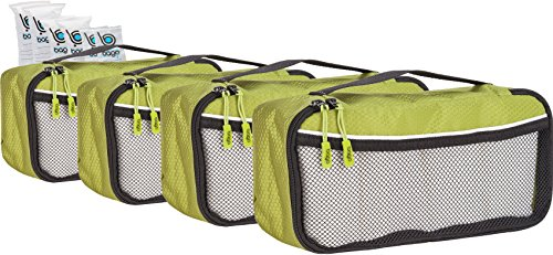 Packing Cubes 4pcs Value Set for Travel , Luggage Organizers – Slim (Green)