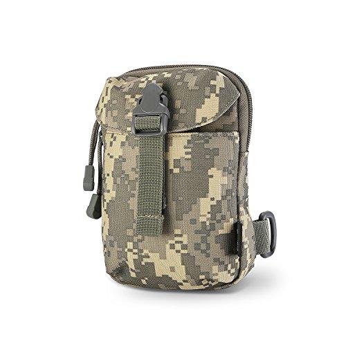 Procase Taktische Hüfttasche Molle Tasche, Gürteltasche EDC Molle Beutel, Multifunktionstasche mit Karabiner, für Outdoor Wandern Camping Radfahren Angeln mit Handy Holster Halter -Camo