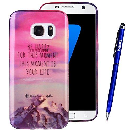 Custodia Samsung Galaxy S7, Yotaka Trasparente TPU Silicone Gel Utral Slim Cover, Utral Sottile Flessibile Protettiva Morbido Case Bumper Shock-Absorption e Antigraffio Cover per Samsung Galaxy S7 + 1*Penna Stilo - Montagna innevata