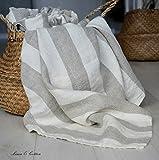 Linen & Cotton Asciugamano da Bagno Doccia MARCUS in Lino Lavato (Stonwashed), Morbidissimo (80 x 100cm, Bianco/ Beige)