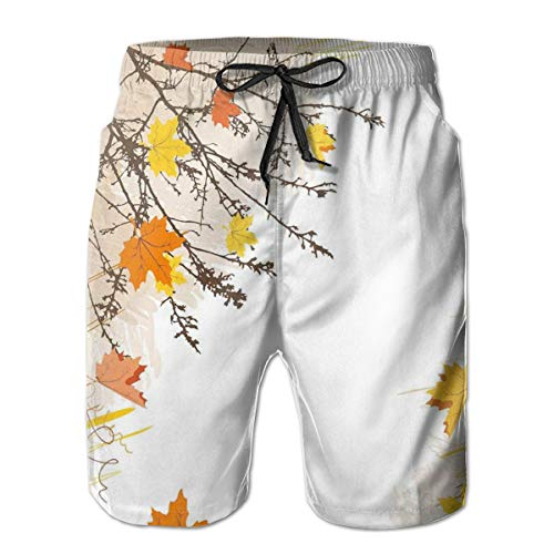 MIOMIOK Mens Beach Shorts Swim Trunks,Autumn Maple Leaves Branches In Fall Earthen Tones Faded Woodland Art Print Tan Yellow Orange,Summer Cool Quick Dry Board Shorts Bathing SuitL