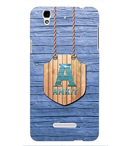 YuBingo Designer Printed Plastic Mobile Back Case Cover Panel for YU Yureka Plus ( Name Surname Ankit (Wood Finish Printed on Plastic) )