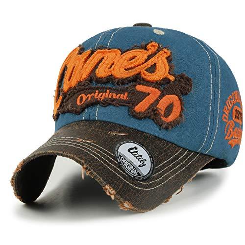 ililily Distressed Vintage Cotton Embroidered Baseball Cap Snapback Trucker Hut (ballcap-507-1)