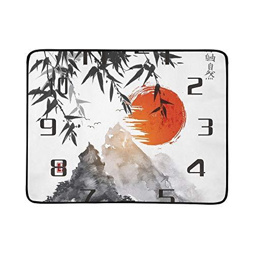 KAOROU Bambusbäume Red Sun Mountains Traditionelle Tragbare Und Faltbare Deckenmatte 60x78 Zoll Handliche Matte Für Camping Picknick Strand Indoor Outdoor Reise