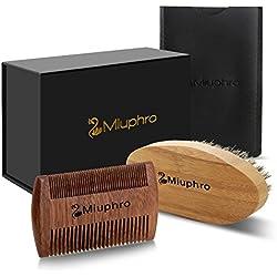 Cepillo para Barba Y Peine para Barba kit – Miuphro Set De Peine De Madera Hecho A Mano Y Cepillo Para Barba De Cerdas Naturales De Jabalí Para Barba de Hombre Y diseño de Bigote