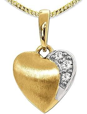 CLEVER SCHMUCK-SET Goldener Anhänger Mini Herz 8 mm matt, bicolor mit 3 Zirkonias in weiß 333 GOLD 8 KARAT und...