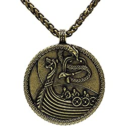 Viking barco buque Medieval nórdico Odin lobo colgante collar cadena de metal de bronce antiguo nudo escandinavo Raven Mjolnir Ladies Hombres celta nórdico NORDIC Rune Talisman Saxon