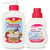 FARLIN FEEDING BOTTLE CLEANING FLUID (500ML) + FARLIN BABY CLOTHING DETERGENT 500ML (white)
