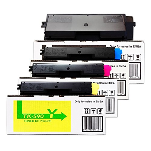 Kyocera/Mita FS-C 5250 DN (TK-590 K/1T02KV0NL0/TK-590 C 1T02KVCNL0/TK-590 M/1T02KVBNL0/TK-590 Y/1T02KVANL0)/- original Toner Set/schwarz 7.000 Seiten/cyan magenta gelb je 5.000 Seiten (Kyocera Mita Set)