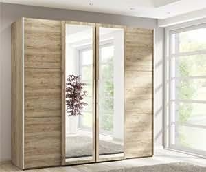 schrankbett klappbett kleiderschrank 215325 san remo eiche 90 x 200 cm k che haushalt. Black Bedroom Furniture Sets. Home Design Ideas