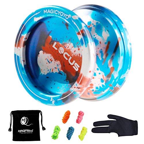 MAGICYOYO V6 Locus Responsive Yoyo Metall Yo Yos Aluminium Legierung Jojo Ball für Anfänger Learner Kinder mit Bag Handschuh 5 Spinning Strings (Blue Splash Red & silver)