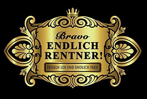 Oblique Unique® Aufkleber Flaschenetikett Endlich Rentner Etikett Gold elegant