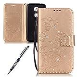 JAWSEU Huawei G8 Custodia Pelle Portafoglio Lusso Bling Glitter Diamante Strass Bella Fiore Goffratura PU Leather Folio Cover Super Sottile Protezione Completa Bumper Case