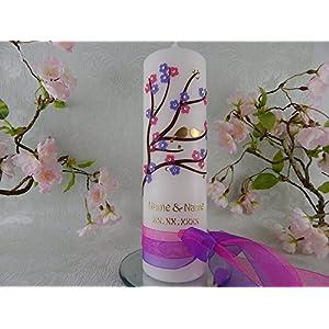 Hochzeitskerze Traukerze floral Blumen flieder pink Vögelchen 250/70 mm inkl. Beschriftung