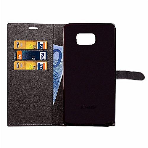 Slim Premium PU Leder Brieftasche Case Horizontale Flip Stand Schutzhülle mit Card Slots und Niet Gürtelschnalle Closure für Samsung Galaxy Note 5 ( Color : Gray ) Black