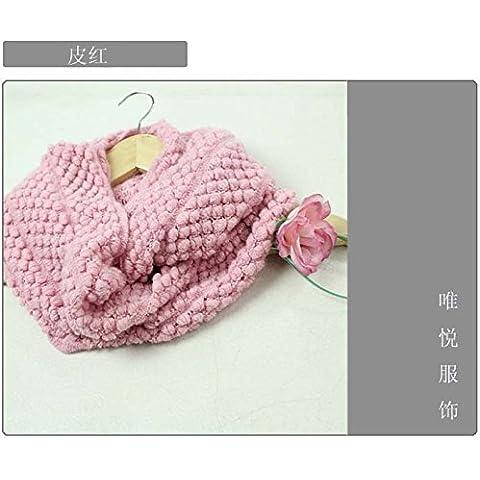 MEICHEN-días de otoño e invierno de lana tejida de maíz bib abarca los dos primeros anillo bufanda mujer,Piel rosa
