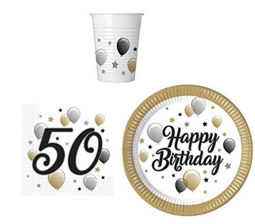 Party-Geschirr Set für 50 Geburtstag - Teller Becher Servietten (16 Personen) (16. Geschirr Geburtstag)