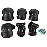 Pellor Outdoor Sports Protective Gear Skating Cycling Sports Gear Set of 6pcs For Children & Adults (Red, M (Tall 150-165cm))