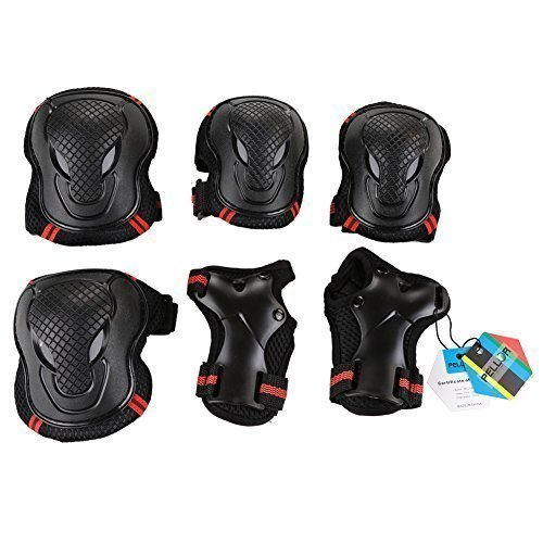 Pellor Outdoor Sports Protective Gear Skating Cycling Sports Gear Set of 6pcs For Children & Adults (Red, L (Tall 170cm))