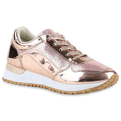 Damen Glamour Sportschuhe Runners Metallic Lack Sneakers Laufschuhe Rose Gold