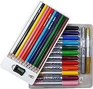 DOMS Majestic Basket Super Soft Brush Pens Colour Alongwith 12 Brilliant Colours Pencils Set