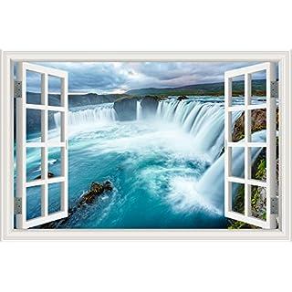 Wasserfall Wald Natur Landschaft 3D Wandtattoo Home Decor Wandsticker Vinyl Tapete, W0813, 32X48